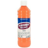 Peinture acrylique brillante orange - flacon de 500ml