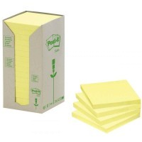 Tour distributrice de 16 blocs post it recycles 76x76mm jaune