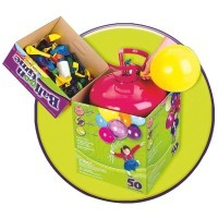Bouteille d'helium jetable + 30 ballons latex 9' multicolores