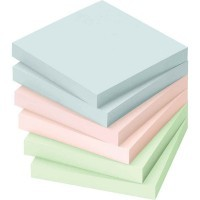 Bloc note repositionnable 76x76mm coloris pastel - Lot de 12