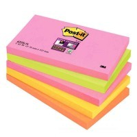 Bloc super sticky 90 feuilles 76x127mm couleur assortie - Lot de 5