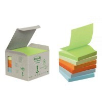 Post-it z-note recyclee 76x76mm assorti - Lot de 6