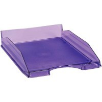 Corbeille a courrier fond plein lilas transparent