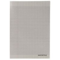 Cahier piqures grand carreaux polypropylene gris 17x22cm grand carreaux 48p 90g