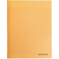 Cahier piqures grand carreaux polypropylene 24x32 96p 90g orange