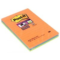 Blocs Notes Super Sticky 45 feuilles. Format 102x152mm - Lot de 3