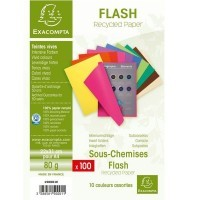 Sous chemises recyclees 80g 22x31 couleurs vives - Paquet de 100