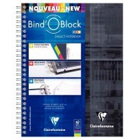 Cahier à reliure integrale bind'o block A5 + petit carreaux + 3 intercalaires repositionnables