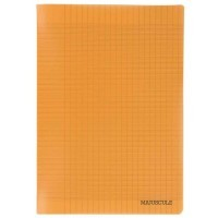 Cahier piqure 96p couverture polypropylene orange A4 grand carreaux 90g.