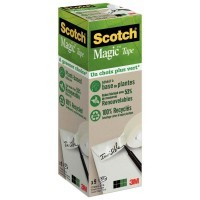 Rouleaux adhésifs invisible Scotch Magic Green 19 mm x 33 m - Pack de 9