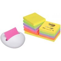 Post-it Z notes néon 76x76mm, coloris assortis + dévidoir galet blanc - lot de 12