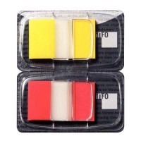 Carte de 2X50 index repositionnables - format 2,5 x 4,3 cm - coloris jaune et rouge
