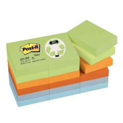 Post it repositionnable recycles 38x51 assortis-lot de 12 blocs