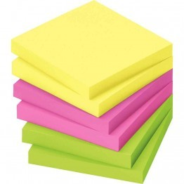 Bloc note repositionnable neon 76x76 assorti - Lot de 12