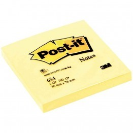Post it repositionnable 76x76 654 jaune - Bloc de 100 feuilles