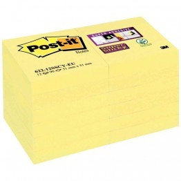 Paquet de 12 blocs de 90 feuilles Super Sticky post-it, 51 x 51 mm, couleur : jaune