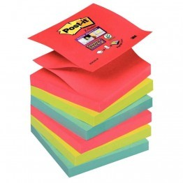 Lot de 6 blocs de 90 feuilles Z-Notes Super Sticky post-it, 76 x 76 mm, couleurs vitaminées : coquelicot, vert néon, bleu océan