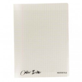 Cahier piqure 140 pages, 4 index, couverture polypropylene, format : 24 x32 cm, seyes, 90g gris