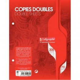 Copie double blanche Clairefontaine 17x22 grand carreaux 70g perforee - sachet de 50
