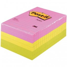 Post it repositionnable neon 102x152 assorti - Lot de 6 blocs
