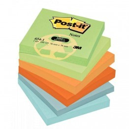 Post it repositionnable recycles 76x76 assortis-lot de 12 blocs
