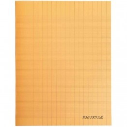 Cahier piqures grand carreaux polypropylene 17x22 48p 90g orange