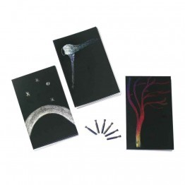 Kit cartes a gratter + plumes