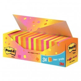 Post-it 76x76mm couleurs assorties - boite de 24 dont 3 gratuits