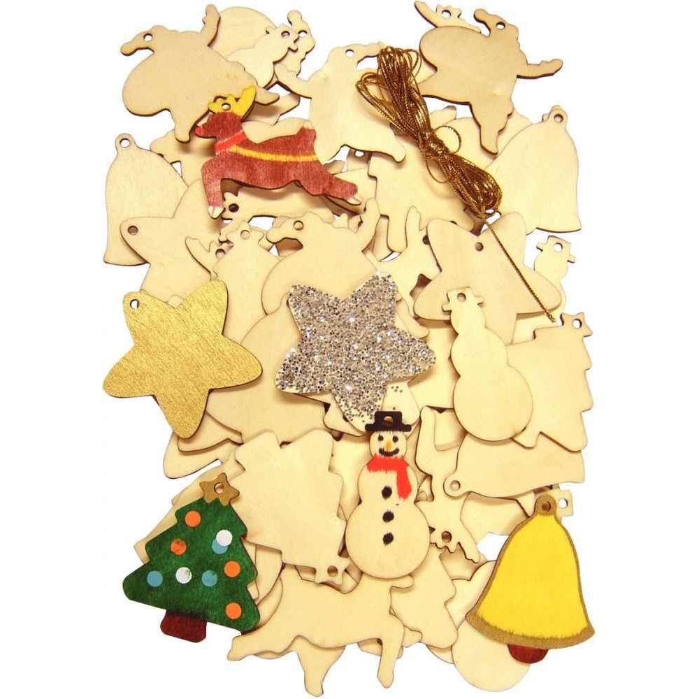 Deco Noel En Bois Naturel petite décoration de noël assorties, en bois brut à décorer - lot de 54