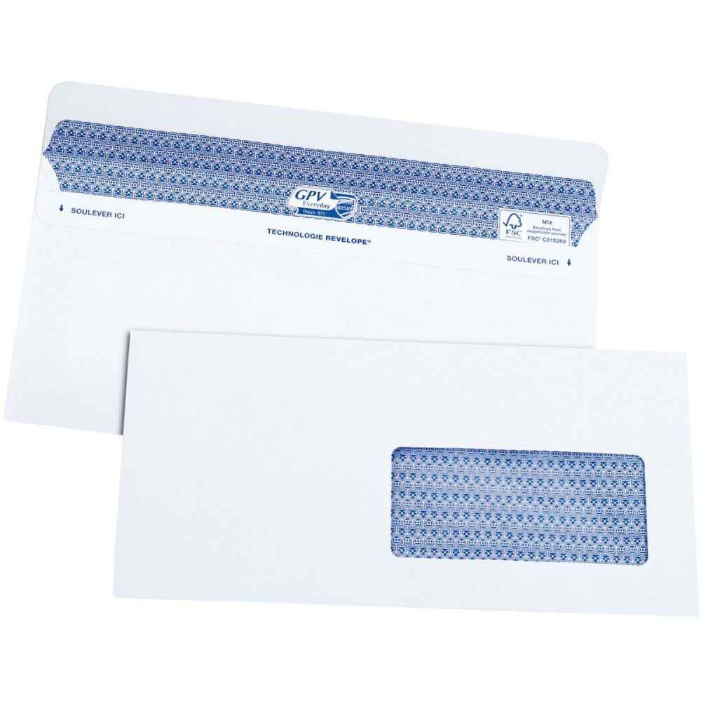 5051 Enveloppe Dl 112x225 90 Gm² Fenêtre 45x100 Boite De 100