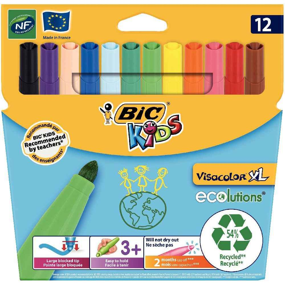 Feutre Coloriage En Anglais.Feutre Visacolor Xl Couleur Assorti Pochette De 12 Bic Kids