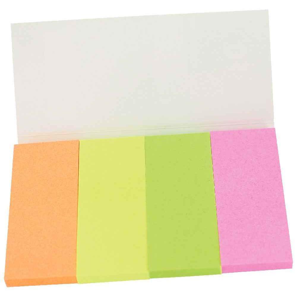Bloc 4x40f marque page papier - format 20x50mm - couleur assorties vives  rose, vert,. Bloc 4x40f marque page papier 20x50mm couleurs assorties vives