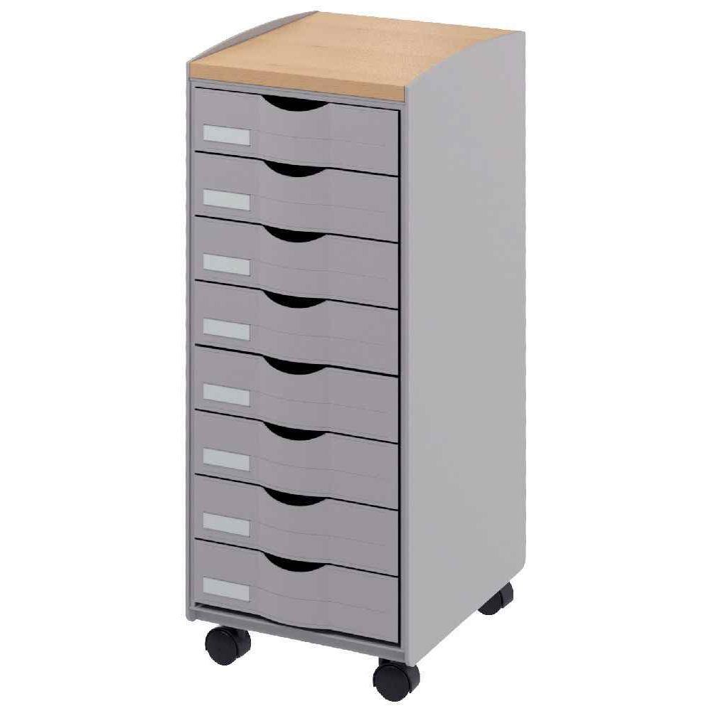 D sserte mobile 8 tiroirs grise paperflow vente de for Bureau 8 tiroirs