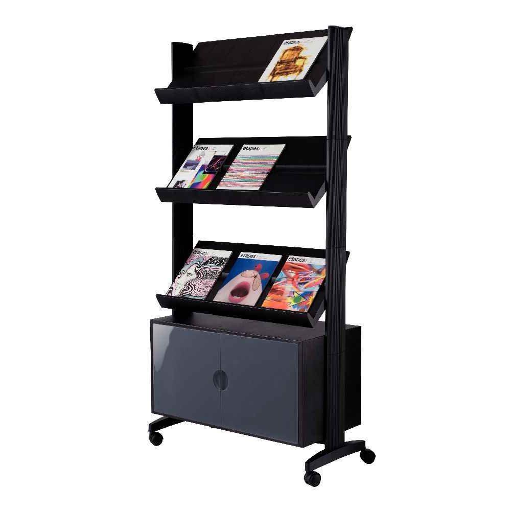 pr sentoir mobile 3 tablettes noir paperflow vente de pr sentoir sur pied la centrale du bureau. Black Bedroom Furniture Sets. Home Design Ideas