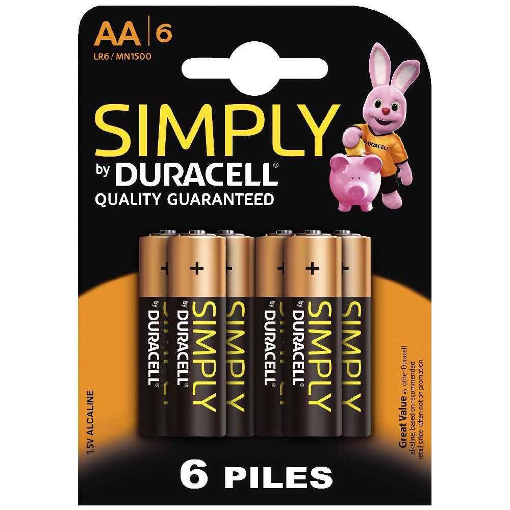 Blister de 6 piles 1.5v SIMPLY LR06 Alcaline. Blister de 6 piles 1.5v SIMPLY LR06 Alcaline.  A la marque DURACELL