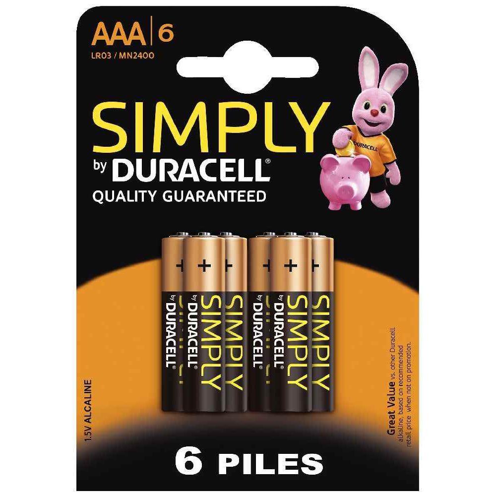 Blister de 6 piles 1.5v SIMPLY LR03 Alcaline. Blister de 6 piles 1.5v SIMPLY LR03 Alcaline A la marque DURACELL
