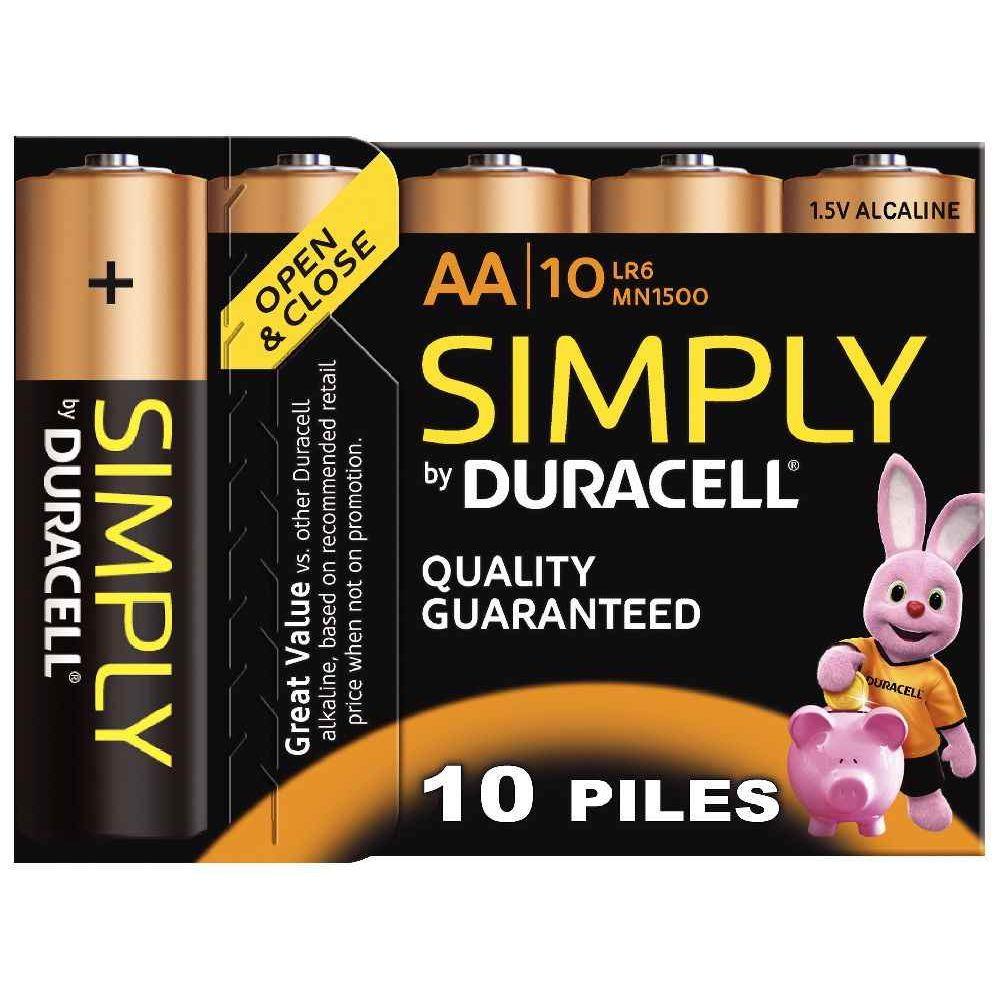 Blister de 10 piles 1.5v SIMPLY LR06 alcaline. Blister de 10 piles 1.5v SIMPLY LR06 alcaline.  A la marque DURACELL