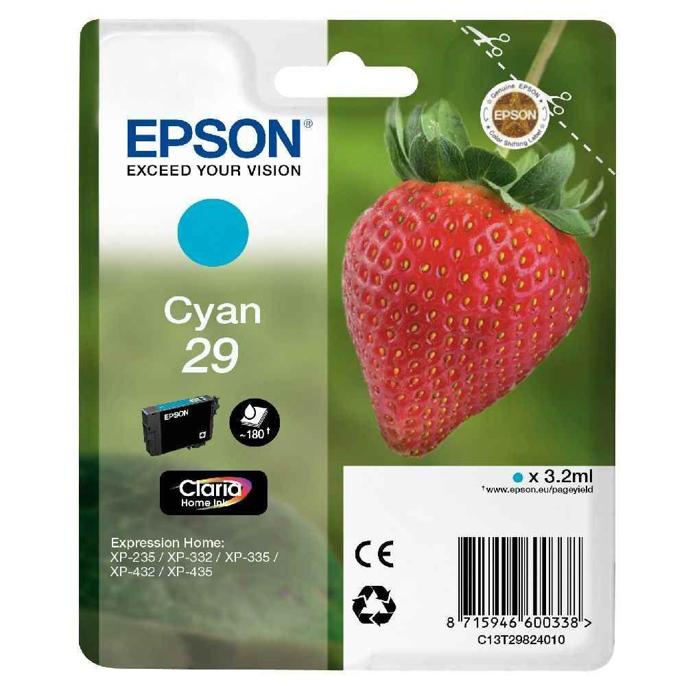 Cartouche d'encre Epson T29824010 cyan. Cartouche d\'encre Epson C13T29824010 cyan à la marque.  Nombre de pages : 180