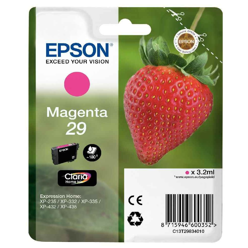 Cartouche d'encre Epson T29834010 magenta. Cartouche d\'encre Epson C13T29834010 magenta à la marque.  Nombre de pages : 180