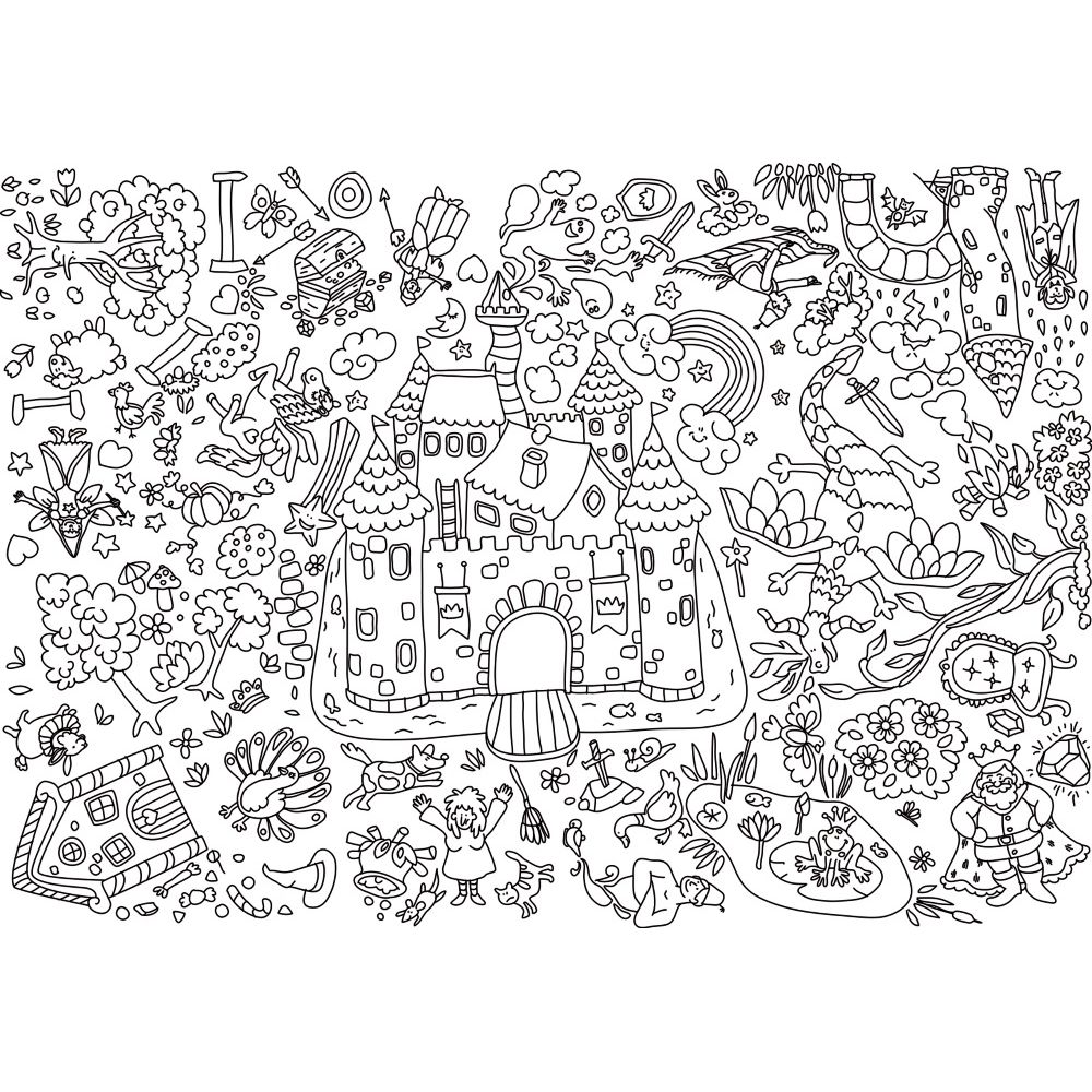Coloriage Geant.Coloriages Geants Theme Chateaux Lot De 5