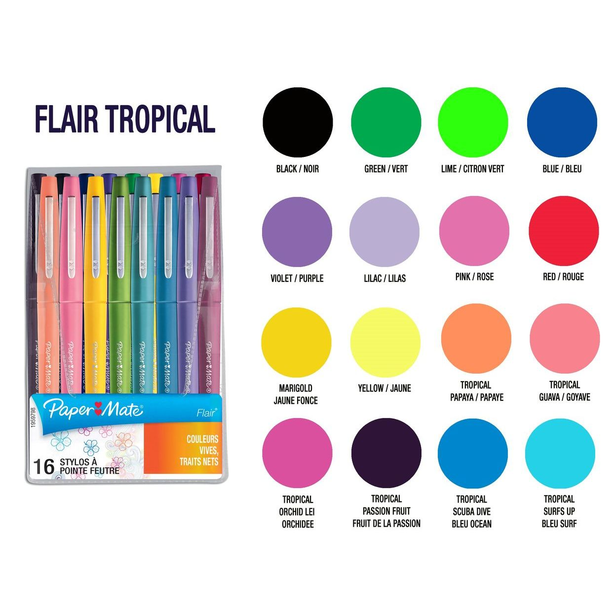 Stylo Feutre Nylon Flair Couleurs Tropicales Assortis Pochette De