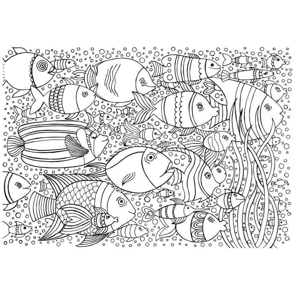 Coloriage géant thème Poisson - Format 70x100 cm - Lot de ...