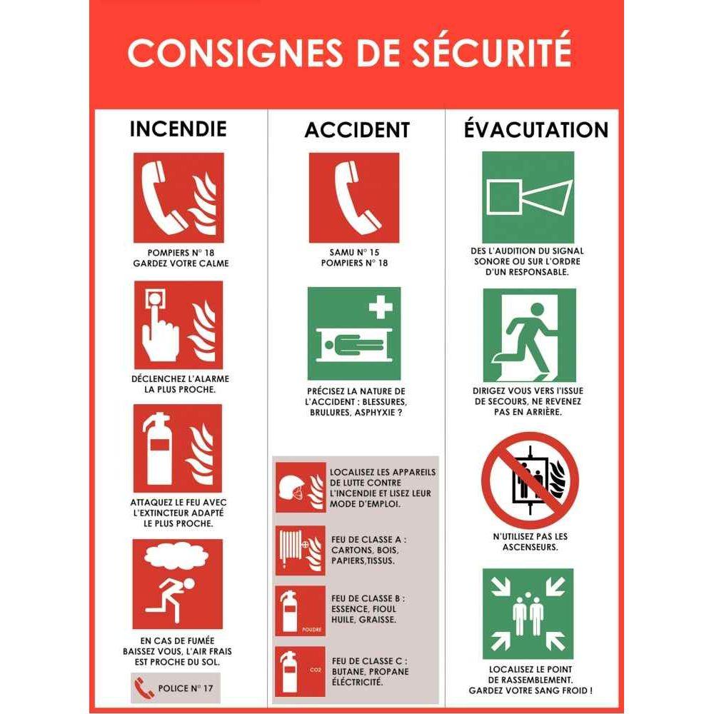 panneau d 39 affichage en pvc consignes de s curit incendie vacuation accident n c vente de. Black Bedroom Furniture Sets. Home Design Ideas