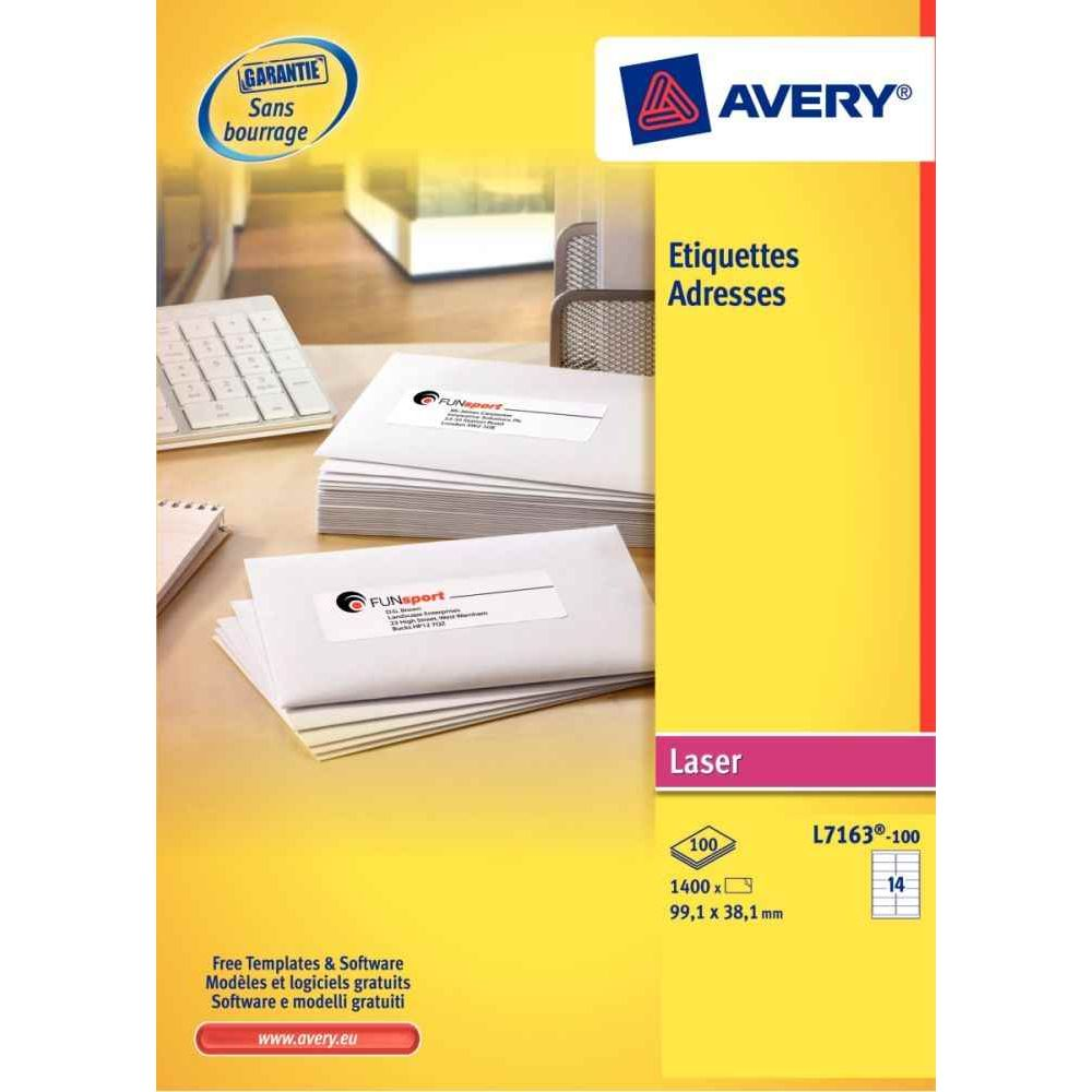 Etiquette laser Avery 63,5x38,1 - boite de 2100. Boîte de 2100 étiquettes spécifiques laser blanches, format 63,5 x 38,1 mm.&Eacut