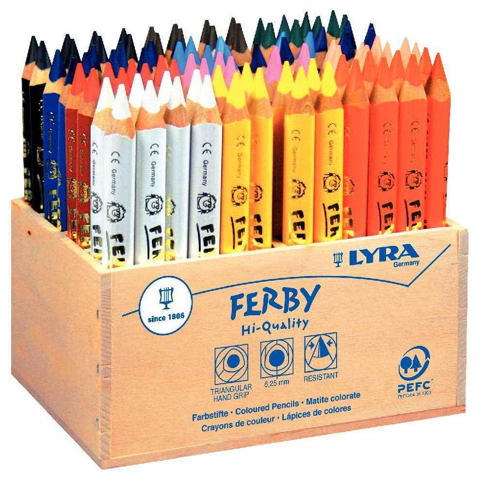 crayon de couleur ferby triangulaire 12cm boite de 96. Black Bedroom Furniture Sets. Home Design Ideas