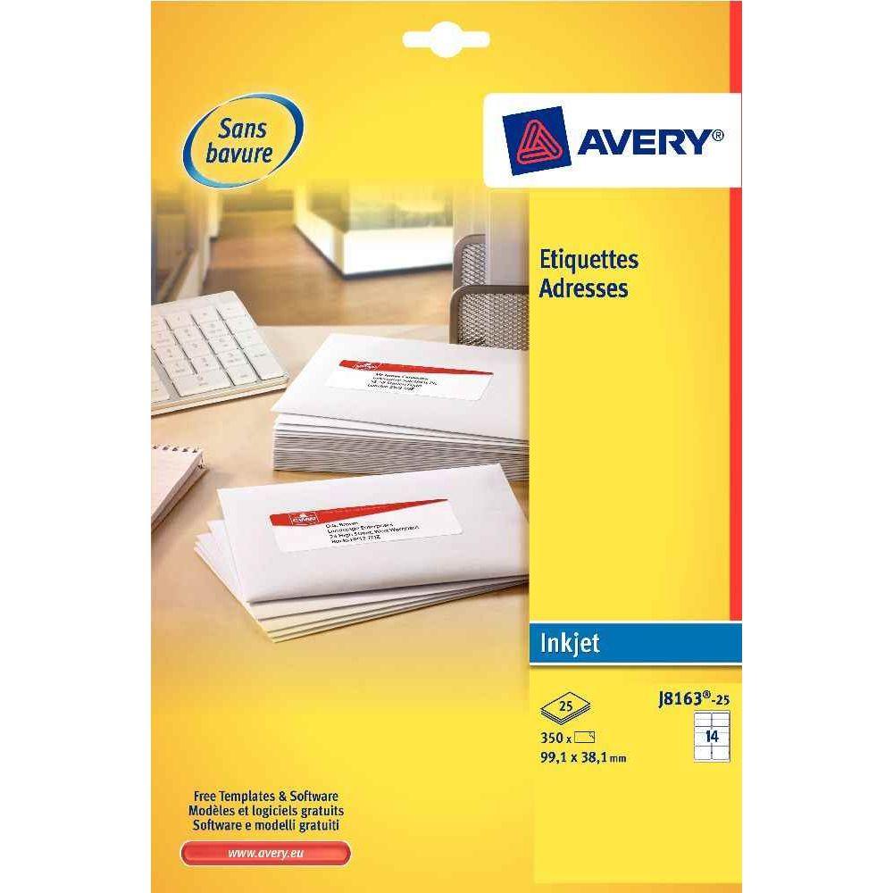 Etiquette jet d'encre Avery 99,1x 33,9 - boite de 400. Pochette de 25 planches de 16 étiquettes adresses jet d'encre 099.1x33.9mm Un séc
