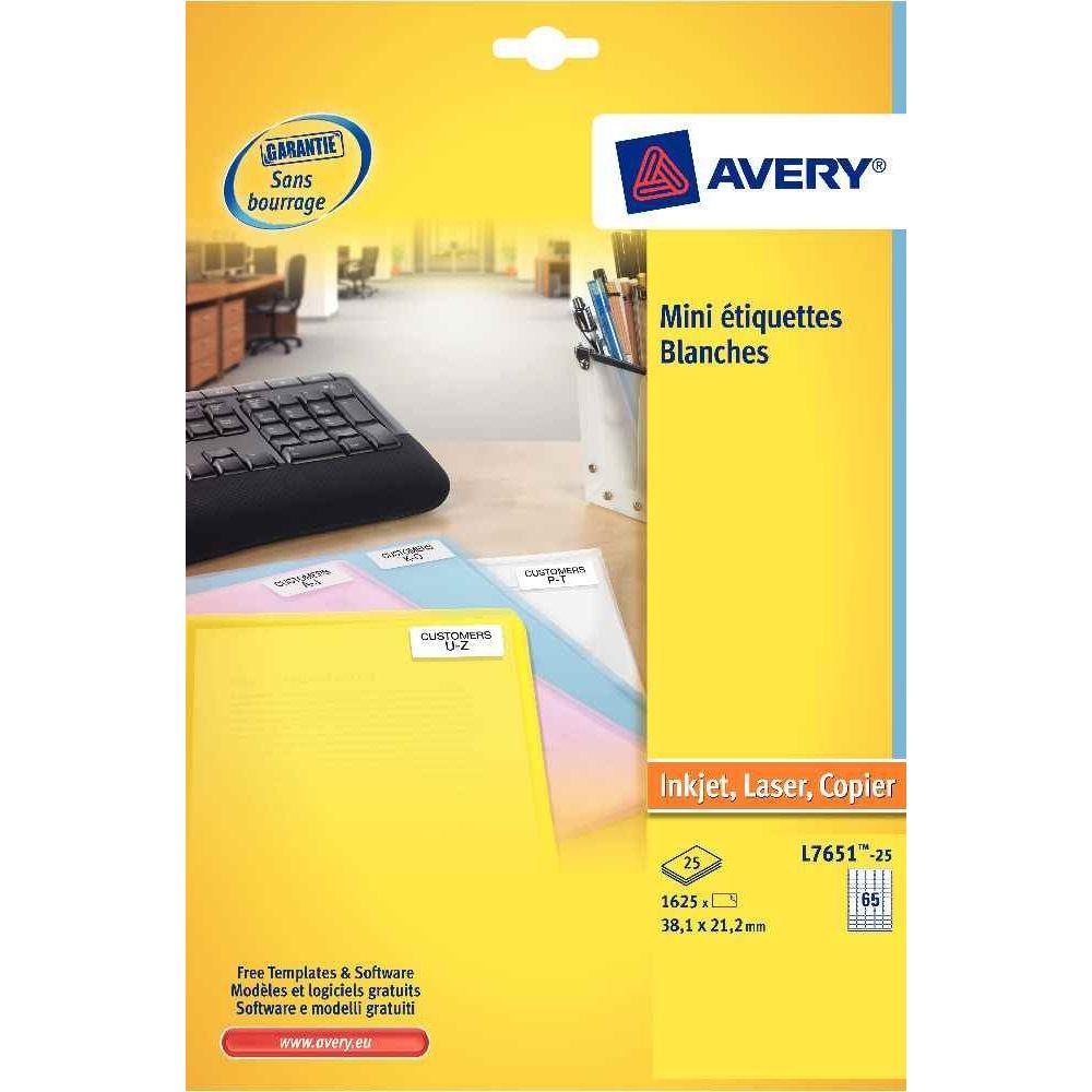 Etiquette mini adresse Avery 38x21 - boite de 1625. Boîte de 1625 étiquettes mini adresse jet d'encre 38x21mm.  Une matière sp&eac