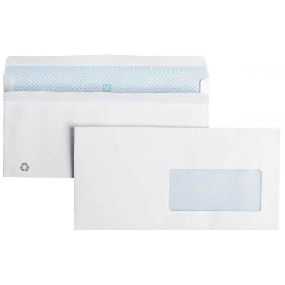 Enveloppe Blanche Dl 110x220 Fenêtre 45 Vélin 90g Auto Adhesive