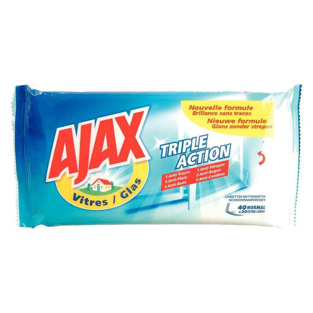 Lingettes vitres Ajax - Paquet de 40. Paquet de 40 lingettes vitres. Chaque lingette élimine rapidement la saleté et les traces de doigt