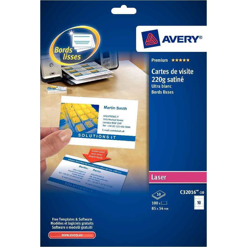Cartes De Visite Imprimables Avery 85x54mm Mat 200g